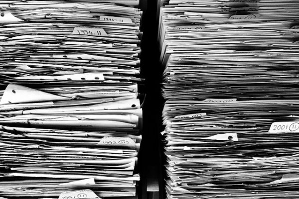 clutter of paperwork and files