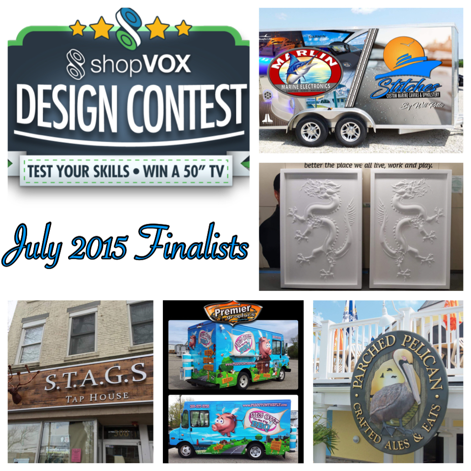Design contest finalists for July